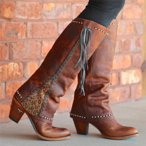 Women Vintage Slip-On Tassel Rivet Mid-Calf Boots