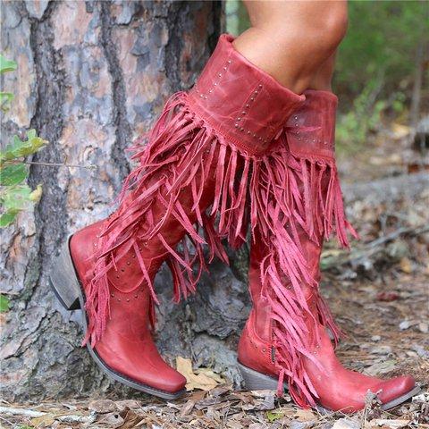 Women Casual Low Heel Zipper Tassel Mid-Calf Boots