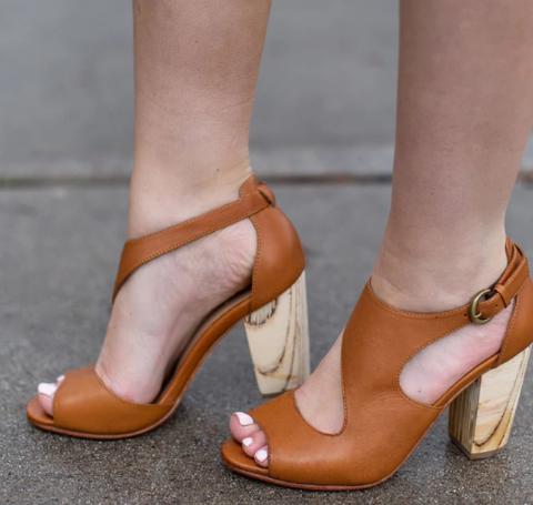 Plus Size Ladies Leather Peep Toe Chunky Heel Sandals Buckle Pumps