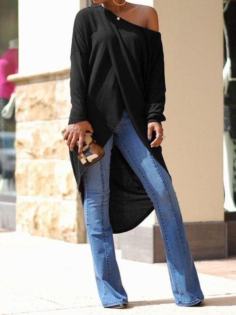 Women Irregular Swallowtail One Shoulder High-low Long Sleeve Oversized Casual Tops
