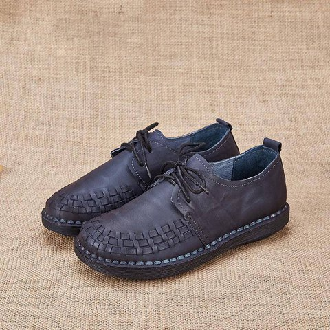 Round Toe Lace-Up Casual Shoes Flats Loafers