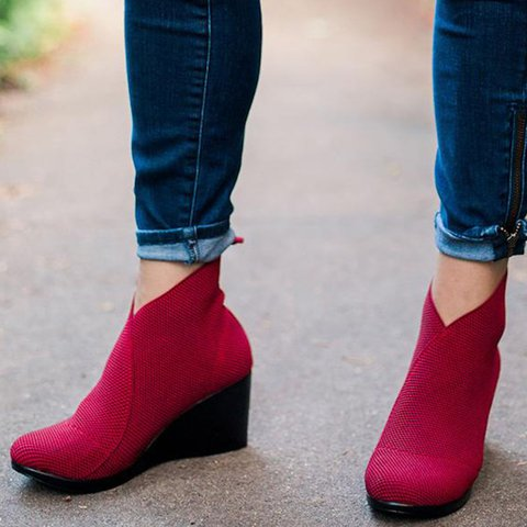 Stretch Elastic Slip-On Wedges Ankle Booties Vintage Women's Boots