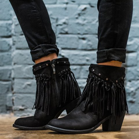 Vintage Faux Suede Tassel  Ankle Booties Chunky Heel Boots