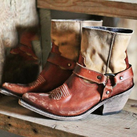 Vintage Chunky Heel Ankle Boots Slip-On Western Cowboy Boots