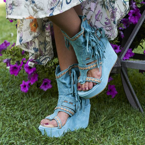 Blue Wedge Heel Tassel Faux Suede Summer Boots