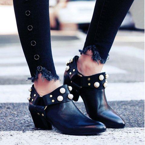 Pearl Pointed Toe Ankle Boties Slip-On Block Heel Women Boots