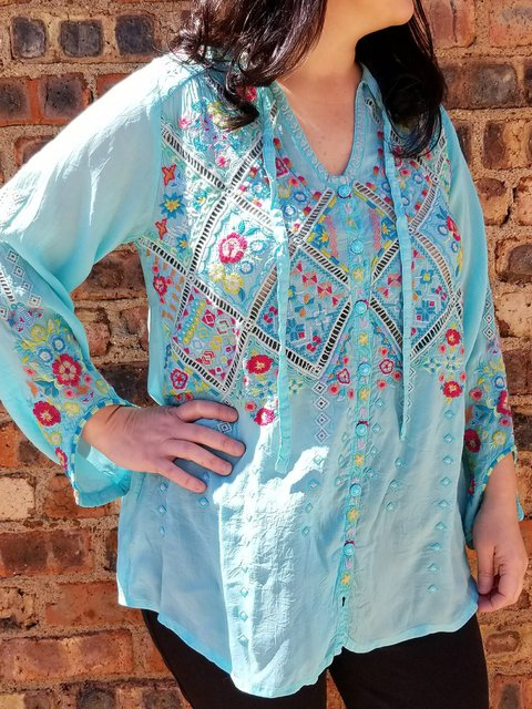 Blue Long Sleeve Cotton-Blend Shirts & Tops