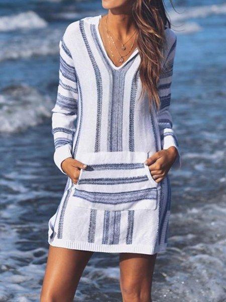 Striped casual loose V neck dress