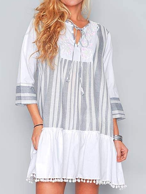 V Neck Gray Women Dresses Shift Daily Stripes Dresses