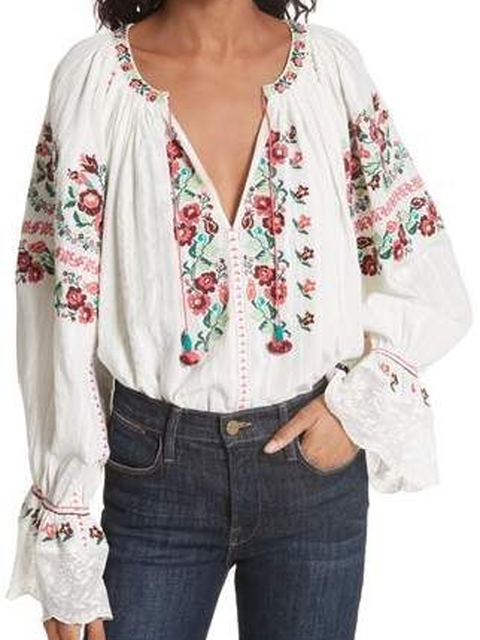 White Long Sleeve Printed Cotton-Blend Shirts Tops