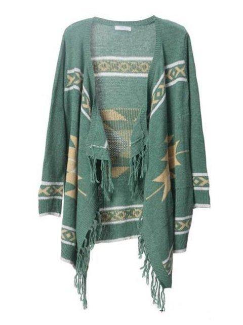 Fringed Long Sleeve Geometric Casual Coats