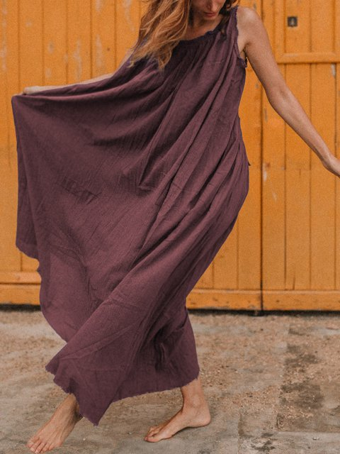 Round Neck Women Caftans Shift Daily Casual Solid Dresses