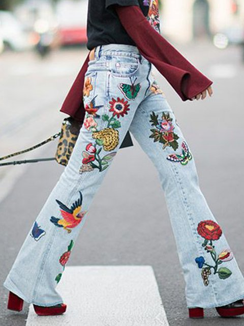 Denim Pants Sweet Floral Pockets Casual Floral-Print Pants