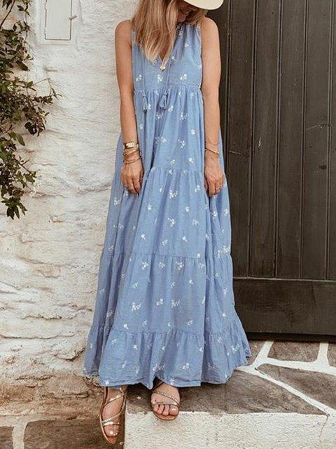 Boho Dresses Daily Floral Dresses V Neck Holiday Sleeveless Tiered Fringed Dresses