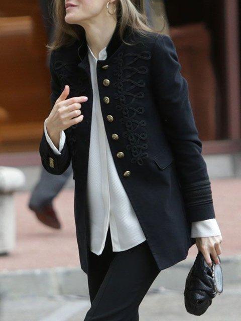 Black Buttoned Lapel Cotton-Blend Long Sleeve Outerwear