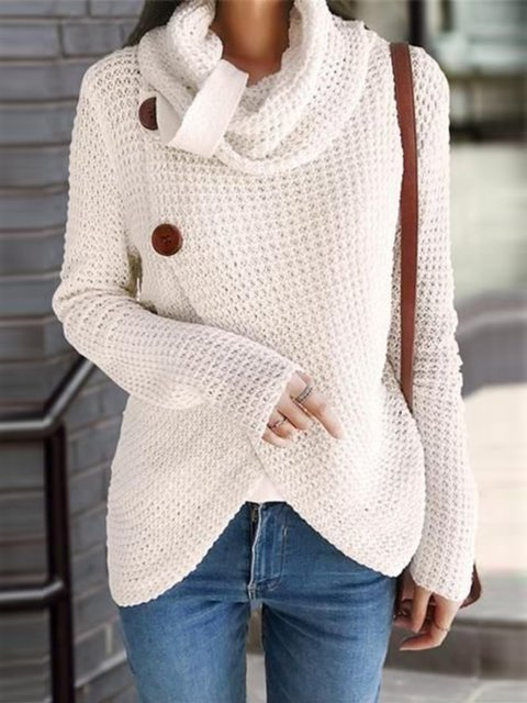 White Long Sleeve Turtleneck Buttoned Outerwear