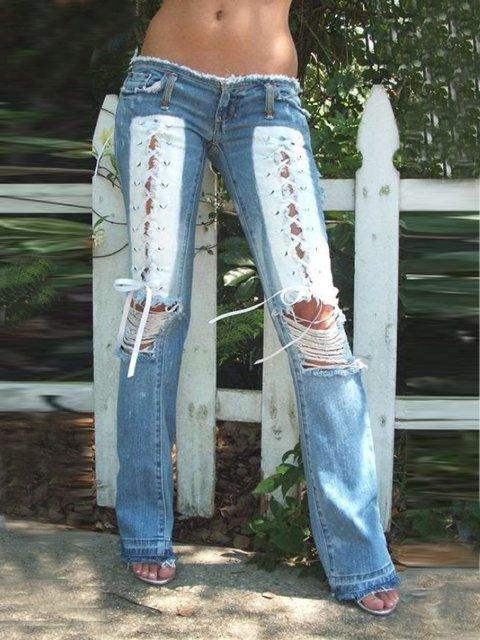 Blue Denim Casual Pockets Pants