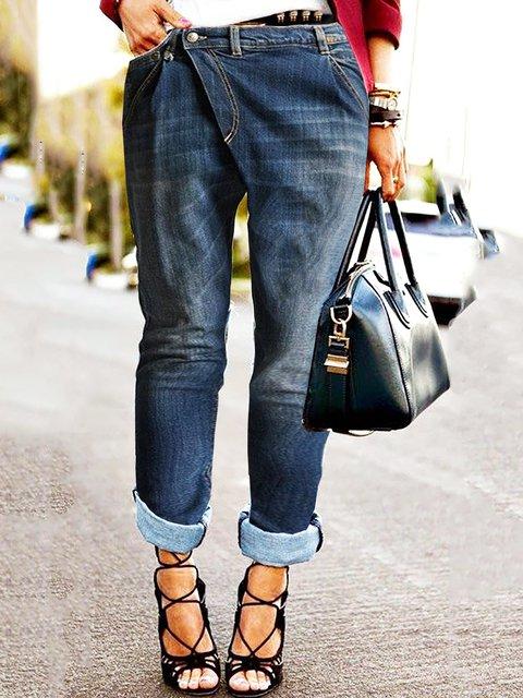 Asymmetrical Buttoned Plus Size Jeans Denim Pants