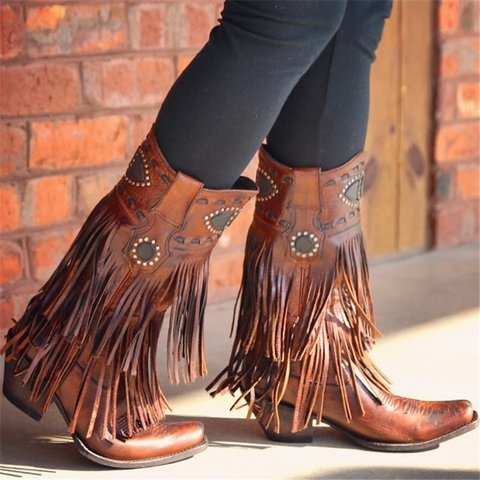 Women Casual Low Heel Tassel Mid-Calf Faux Leather Boots