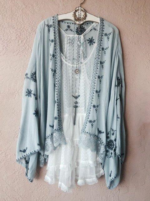 Blue Chiffon Floral Sweet Floral-Print Coats