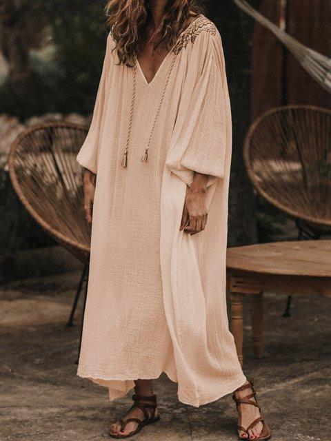 V Neck Solid Women Caftans Shift Daily Linen Dresses