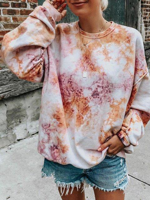 Plus Size Tie-Dye Sweatshirt Women Crew Neck Tops