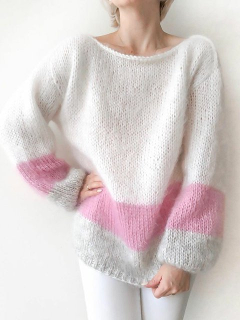 Plus Size Sweater Women Crew Neck Long Sleeve Knitted Tops