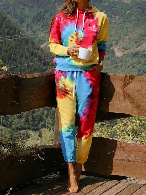 Plus Size Tie-Dye Tracksuit Women Printed Hoodie Suits