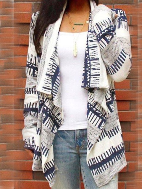 Striped Casual Floral-Print Cardigan