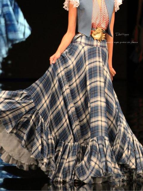 Checkered/plaid Cotton-Blend Vintage Skirts