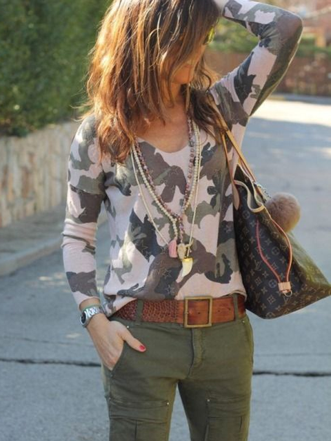 Khaki Cotton-Blend Printed Basic Geometric Shirts & Tops
