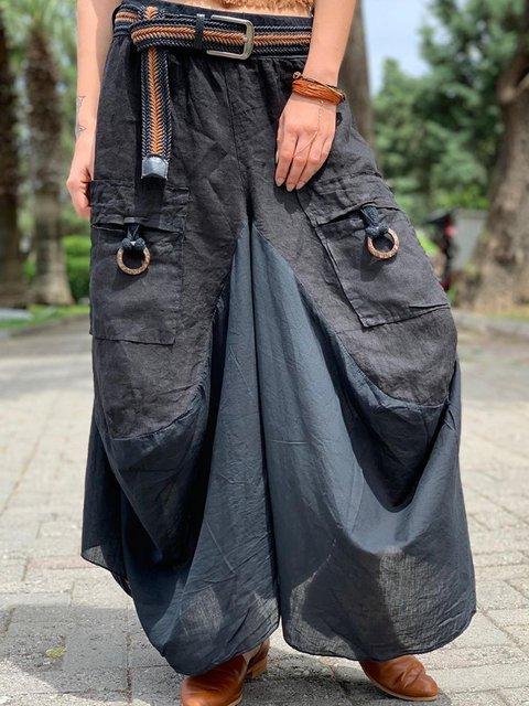 Gray Boho Cotton Pants