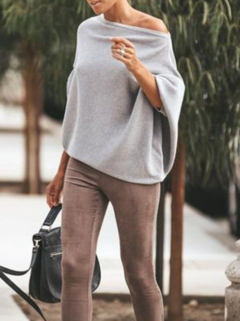 Light Gray Long Sleeve Off Shoulder Knitted Solid Shirts & Tops