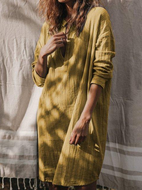 V Neck Women Spring Dresses Shift Daily Casual Linen Dresses