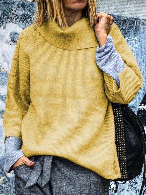 Women Basic Casual Turtleneck Long Sleeves Sweater