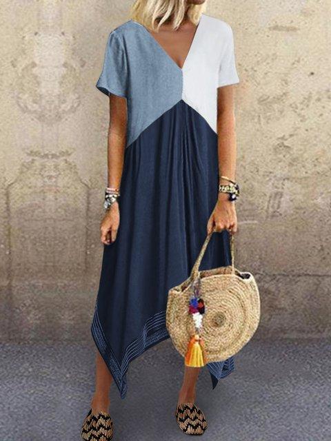 Crew Neck Brown Women  Shift Beach Cotton-Blend Shift Color-block,Leather-paneled Dresses