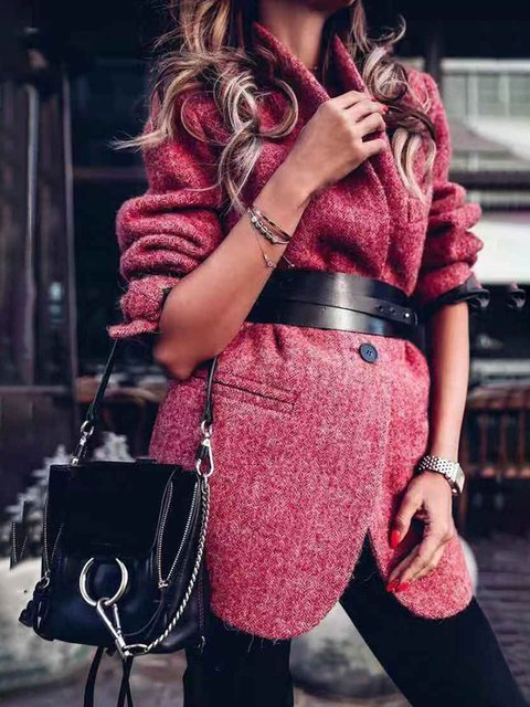 Burgundy Plain Cotton Long Sleeve Coats