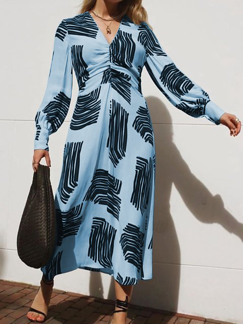 V Neck Women Spring Dresses Shift Abstract Dresses