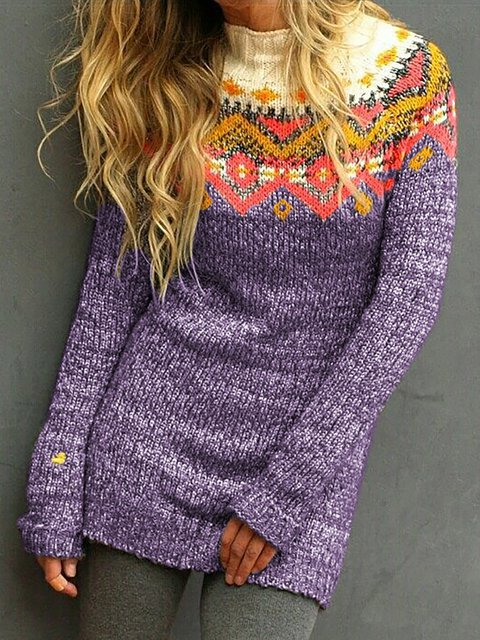Plus Size Cotton Tribal Casual Turtleneck Sweaters