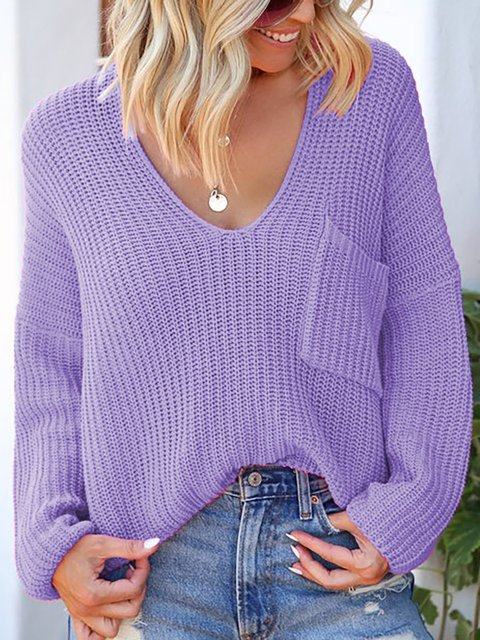 Plus Size Solid V Neck Long Sleeve Casual Sweaters