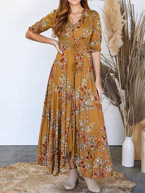 Plus Size V Neck Women Caftans Shift Daily Boho Dresses