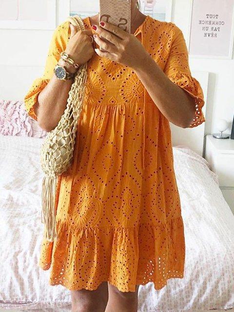 Boho Dresses Holiday V Neck Ruffled Boho Half Sleeve Dresses