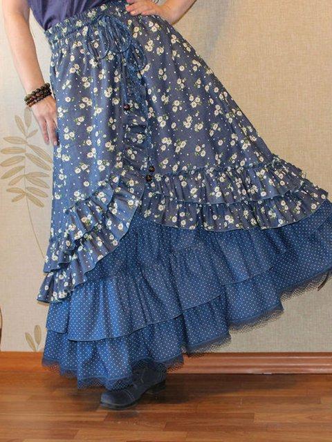 Blue Paneled Floral Boho Skirts