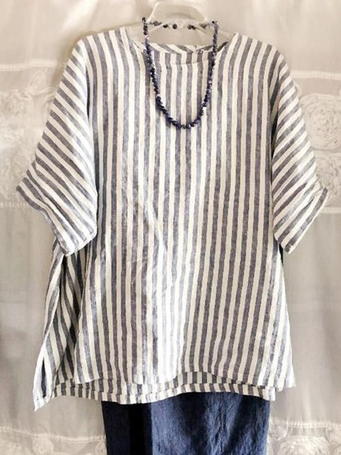 Pllus Size Striped Round Neck Batwing Sleeves Casual Tops