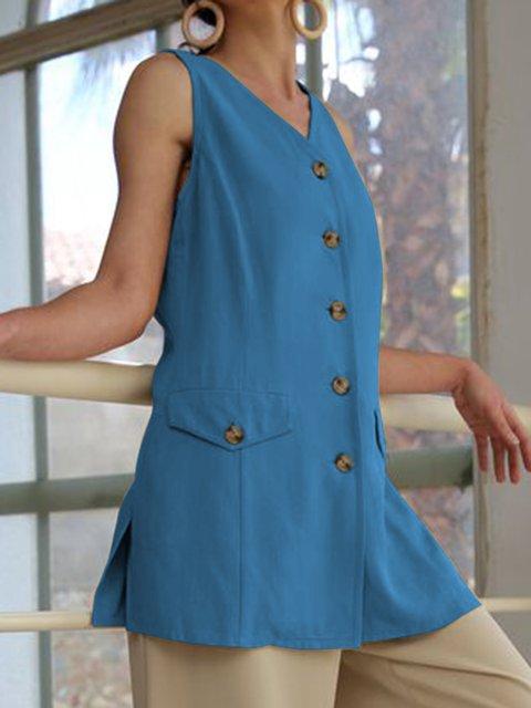 Plus Size Women V-Neck Buttoned Sleeveless Blouses