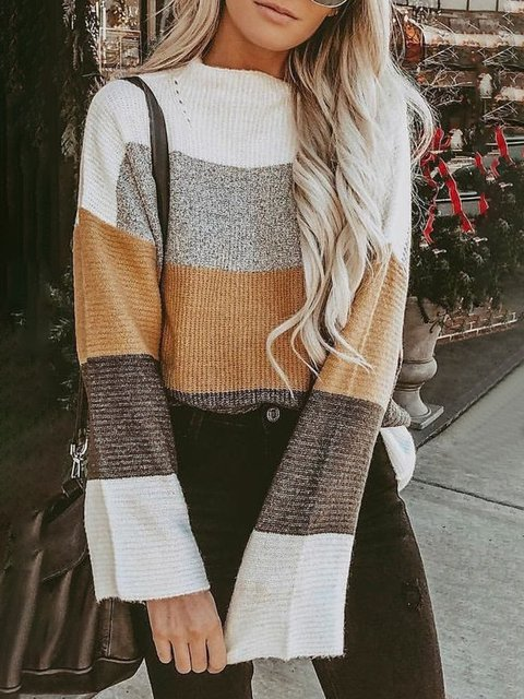 Printed Knitted Long Sleeve Crew Neck Stripes Cotton Sweater