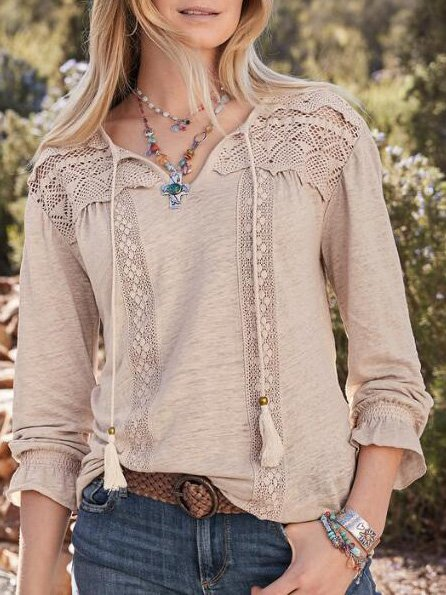 V Neck Cotton-Blend Long Sleeve Shirts & Tops