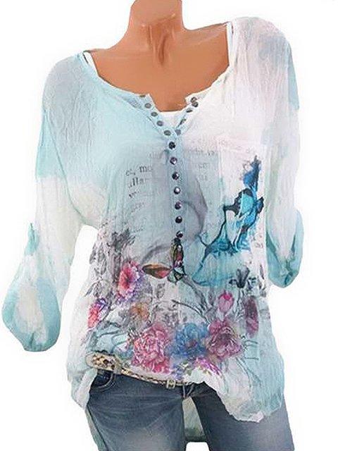 Blue Crew Neck Paneled Basic Floral Shirts & Tops