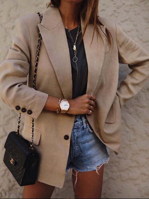 Khaki Casual Long Sleeve Plain Outerwear