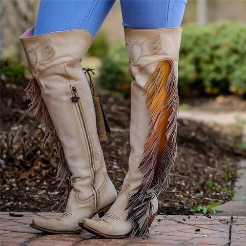 Women Vintage Tassel Loe Heel Faux Leather Boots